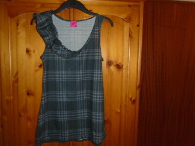 1 Dark grey and light grey checked sleeveless top with frill, GEORGE, size 12