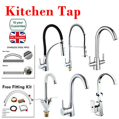 Monobloc Kitchen Mixer Tap with Pull Out Hose Spray Single/Twin Lever Chrome Tap