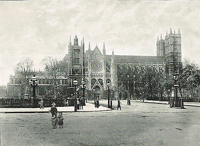Westminster Abbey London 1900 Single Sided Antique Print Old Picture SASIEAW#43