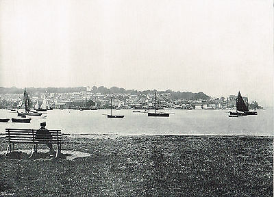 West Cowes Isle Of Wight View From East Cowes 1895 Antique Picture Print RTC#140