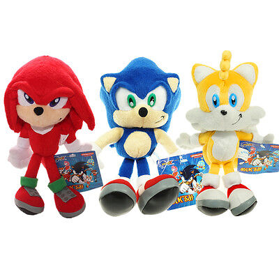 """HOT 3PC/set Sonic The Hedgehog Knuckles Tails Stuffed Plush Soft Doll Toy  9.84"""""""