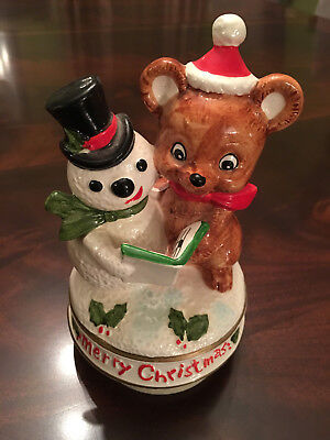 Vintage SANKYO Japan Merry Christmas Snowman Teddy Bear Music Box Figurine
