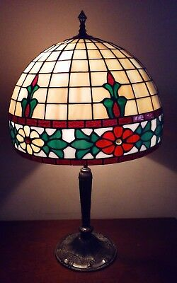 Antique PLB & G Co. Large Signed Lamp Model 2051 Leaded Stained Glass Shade Rare