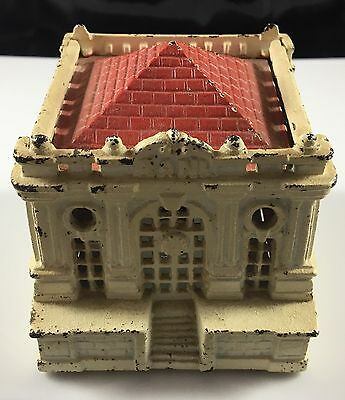 Antique Cast-Iron Red Tile Roof Commercial Clock Face Still Coin Bank