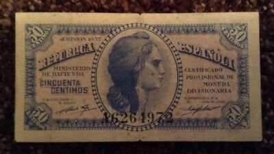 Spain Banknote. 50 Centimos. Spanish Republic. Dated 1937.