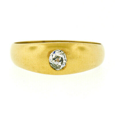 Unisex Antique Art Nouveau 14k Gold 0.30ct Old Mine Oval Diamond Solitaire Ring