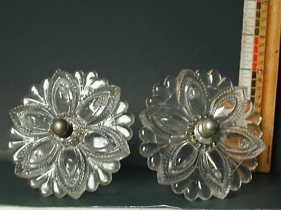 Pair Of 19th Century Sandwich Glass Clear Curtain Tiebacks