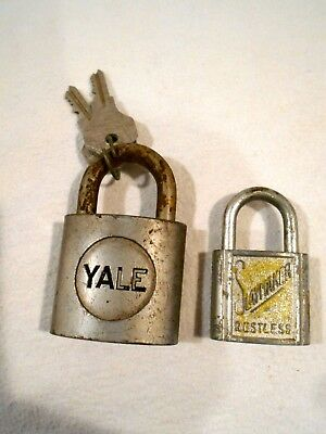 2-Vintage Padlocks Yale Brass Lock w/Keys & Slaymaker Lock no Keys