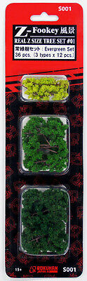 Rokuhan S001 Z Scale Real Tree Set 01 Evergreen 36 pcs. (1/220 z scale)