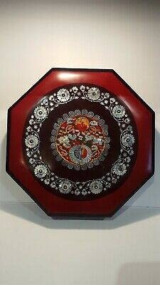 Oriental Lacquer Jewelry Octagon Tray Box Mother of Pearl Inlay Design Sections
