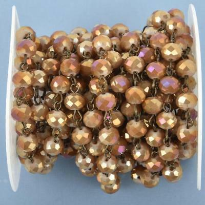 1 yard DESERT TAN AB Crystal Rondelle Rosary Chain, bronze wire, 8mm fch0977a