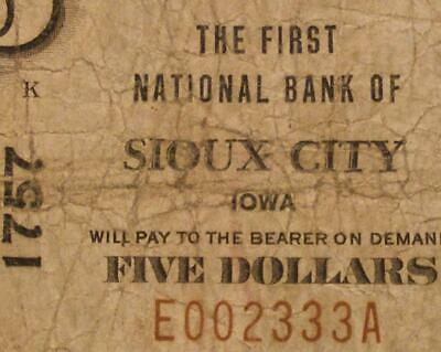 Sioux City, Iowa IA 1929 T1 $5.00 Ch. 1757 The First National Bank