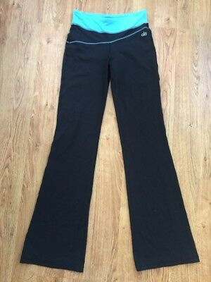 8c892122bd ALO Black Boot Cut Flared Hem Workout/Yoga Pants w/ Turquoise Waist Sz XS