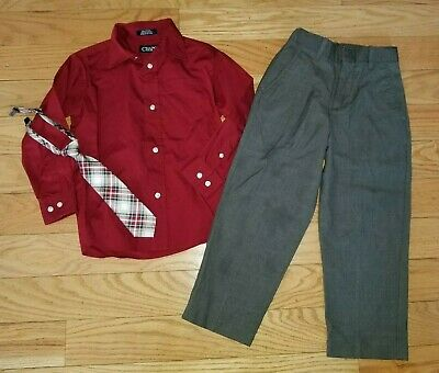 Boys CHAPS Lot Button Dress Shirt Grey Pants Sz 5 & Children's Place Tie Holiday