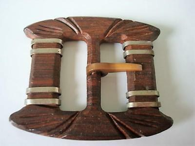 Large Vintage Carved Wood Buckle Silver Tone Bands 2 3/4 x 3 1/8 In.