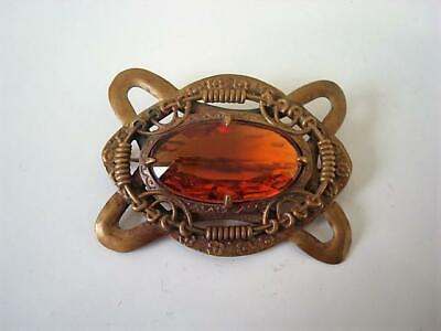 .Antique Victorian Art Nouveau Brass and Amber Glass Sash Buckle Pin Brooch