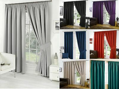 Designer Thermal Pencil Pleat Blackout Tape Top Pair of Curtains Ready Made Free