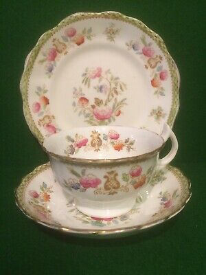 Vintage Bone China Floral Tea Cup,Saucer & Plate Trio