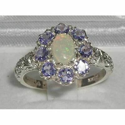 Solid English Sterling Silver Ladies Large Opal & Tanzanite Art Nouveau  Ring