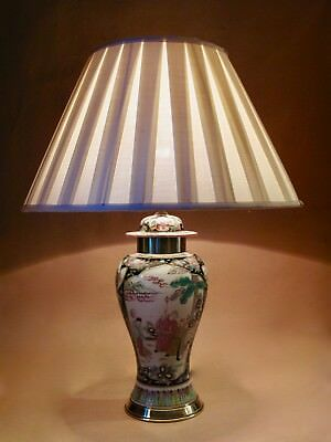Chinese Family Noir and Rose Vase Table lamp 19th Century