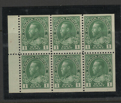 CANADA #104a Booklet Pane Admiral one cent green VFNH