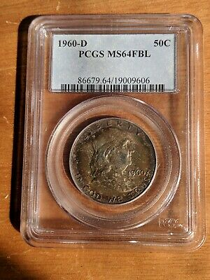1960 D Denver Franklin Silver Half Dollar MS UNC PCGS 64 FBL Toned
