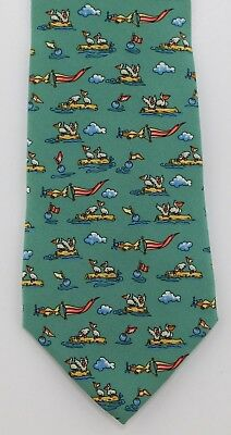 1f7b118b9 Salvatore Ferragamo Plane flying flag over seagulls on rocks near buoy Silk  Tie
