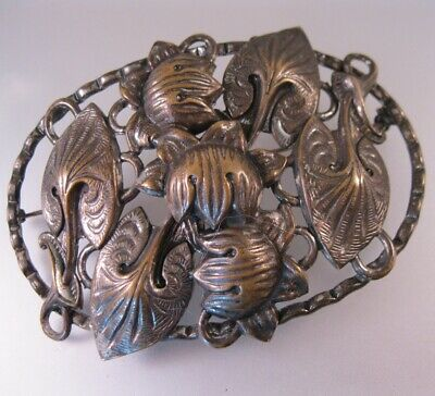 Antique Victorian Art Nouveau Lily Sash Brooch Silver Plate on Brass Jewelry