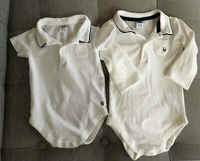 Janie & Jack Baby Boy Lot of 2 White Polo Bodysuits Short & Long Sleeves 3-6 Mo.