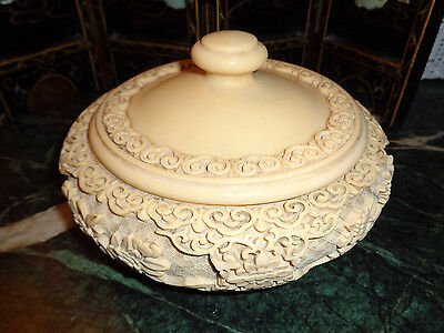 """ASIAN ANTIQUE rare bone color BOWL WITH LID weighs almost 4 lbs. 8""""diameter xlnt"""