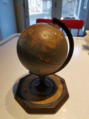 Vintage Metal World Globe Bosch Radio America Explorers Club Antique