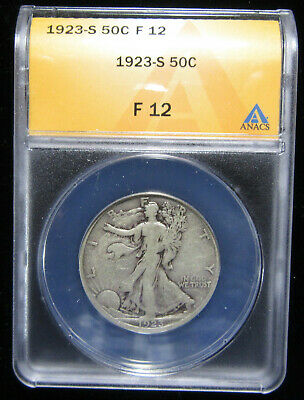 1923-S 50c ANACS F12. Nice and original better date Walker.  (419013)