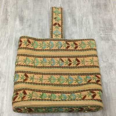 Women's Vintage Brown Woven Jute Embroidered Ethnic Tote Handbag Purse 13x14x3.5