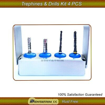 Dental Implant Drills & Trephine Drills Kit Surgical Trimmer Tools 4 Pcs Set