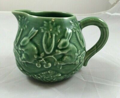 Bordallo Pinheiro Portugal Green Creamer Rabbit 14 oz Majolica