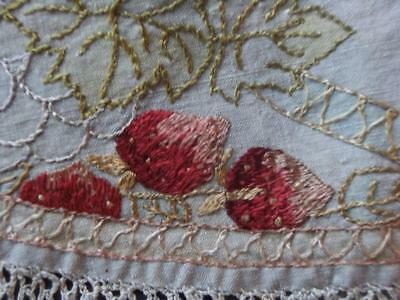 "Arts and Crafts Silk Embroidered Strawberry motif linen.  25"" x 28"". Tablecover."