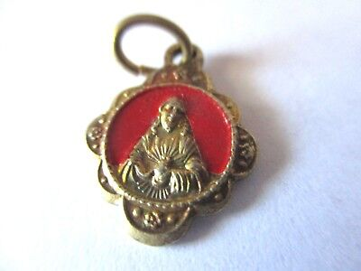 Vintage Antique 1920 New Red Enamel Sacred Heart Of Jesus Religious Medal Lot B5