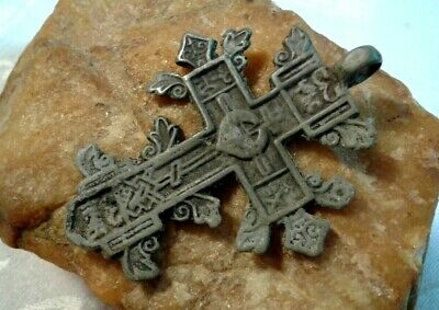 "UNIQUE c. 16-18th CENTURY LARGE ""OLD BELIEVERS"" ORTHODOX ORNATE ""SPROUTED"" CROSS"