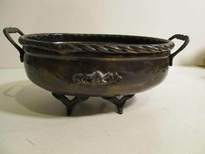 Vintage Hammered Copper Brass Planter Footed with Handles.