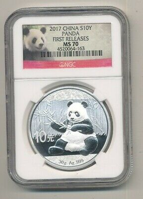 2017 China Panda Silver 1 Oz Coin 10 Yuan Ngc Ms 70 First Releases
