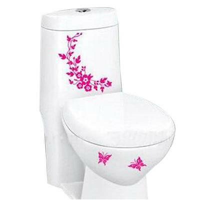 Butterfly Flower Bathroom Toilet Laptop Wall Decals Sticker Home Decoration KV