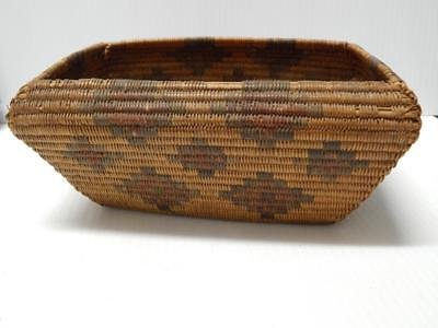 Rare 2 Find Vintage Antique Moapa Paiute Coiled Polychrome Rectangular Basket