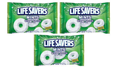 LIFE SAVERS WINT-O-GREEN MINTS CANDY - 13oz BAG - PACK OF 3