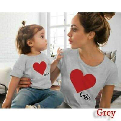 Family Mother And Daughter Matching Clothes Heart Printed T-Shirt Tops Blouse
