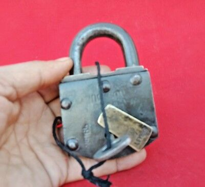 Old Vintage Antique Rare 7-Lever Iron Brass Lock and Key Aligarh Make India