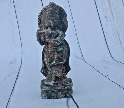 Old Vintage India Stone Hand Carved Hindu Lord Krishna With Flute Statue K1