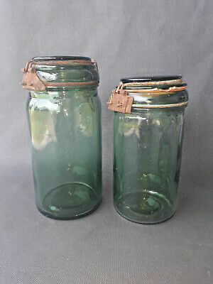 Lote de 2 Antiguo Tarros de Cristal Duro For ,Frasco Vintage, Old French Pot