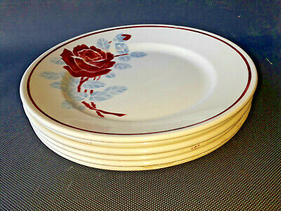 Lot 6 Antique Plates Ceramic of Badonviller Beautiful Pink Old French Plate