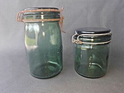 Lote de 2 Antiguo Tarros de Cristal de Ideal Tarro Bric Vintage Old French Pot
