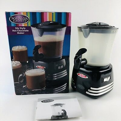 Nostalgia 50's-Style Hot Chocolate Maker Froth Dispenser 32 Ounces Black NEW
